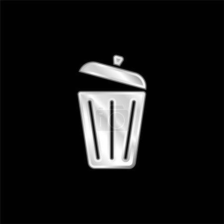 Illustration pour Icône métallique plaqué argent poubelle - image libre de droit