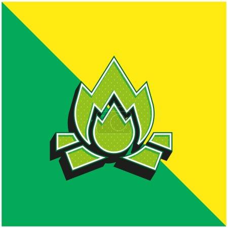 Illustration pour Logo d'icône vectoriel 3D moderne vert et jaune de Bonfire - image libre de droit