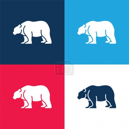 Illustration pour Ensemble d'icônes minime ours bleu et rouge quatre couleurs - image libre de droit