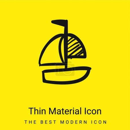 Boat Hand Drawn Toy minimal bright yellow material icon