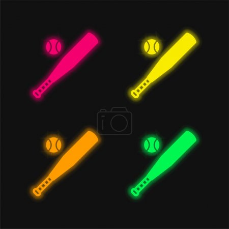 Baseball four color glowing neon vector icon