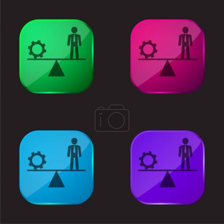 Illustration for Balancing Between Cogwheel And Businessman four color glass button icon - Royalty Free Image