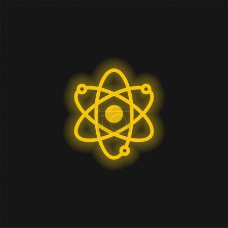 Illustration for Atom yellow glowing neon icon - Royalty Free Image