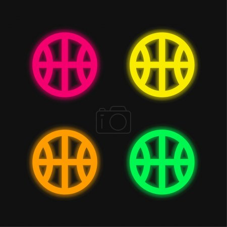 Basketball four color glowing neon vector icon