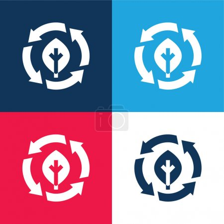Illustration for Bio blue and red four color minimal icon set - Royalty Free Image