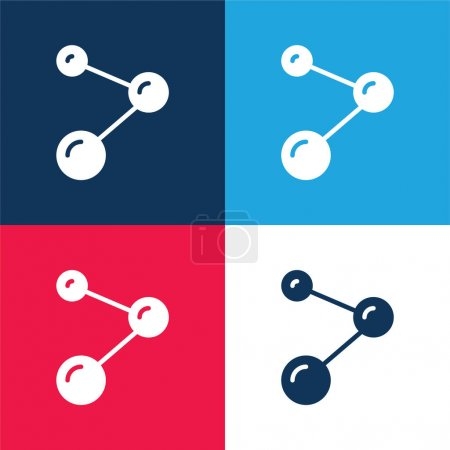 Illustration for Atoms blue and red four color minimal icon set - Royalty Free Image