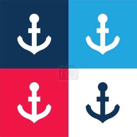 Illustration pour Ancre bleu et rouge quatre couleurs minimum jeu d'icônes - image libre de droit