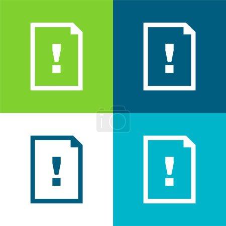 Illustration pour Document d'argumentation Symbole d'une feuille de papier avec un signe d'exclamation Ensemble d'icônes minimal plat de quatre couleurs - image libre de droit