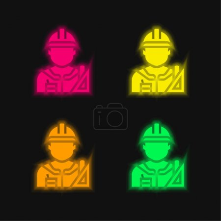 Illustration for Architect four color glowing neon vector icon - Royalty Free Image