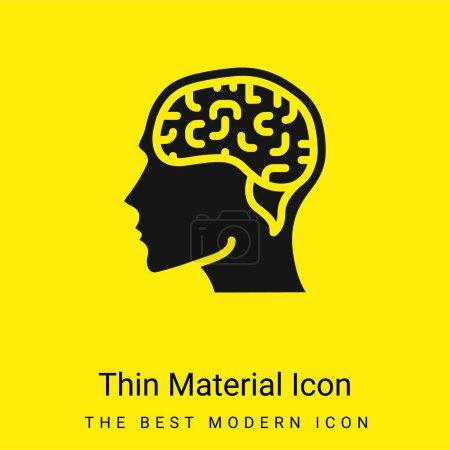 Brain minimal bright yellow material icon