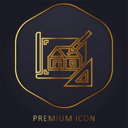 Blueprint ligne d'or logo premium ou icône