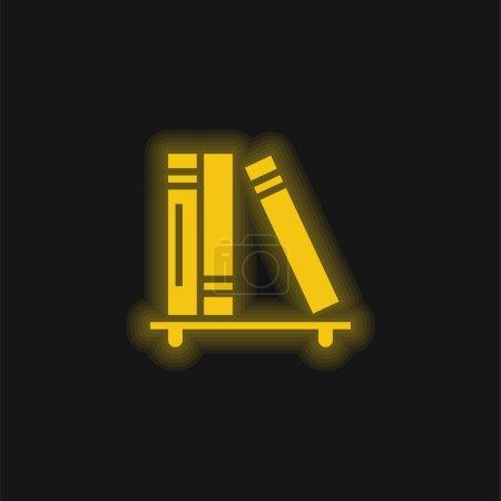 Illustration pour Livres jaune brillant icône néon - image libre de droit