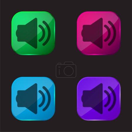 Illustration pour Grand haut-parleur avec deux ondes sonores icône de bouton en verre de quatre couleurs - image libre de droit