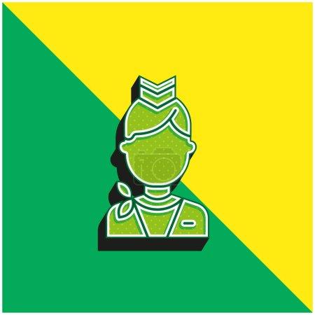Photo pour Hôtesse de l'air Logo vectoriel 3D moderne vert et jaune - image libre de droit