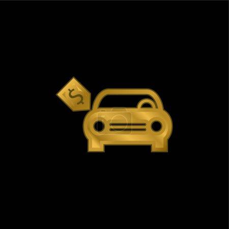 Illustration pour Voiture neuve avec Dollar Prix Étiquette plaqué or icône métallique ou logo vecteur - image libre de droit