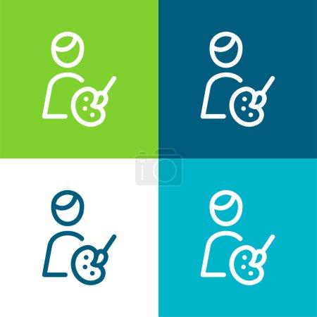 Illustration pour Artiste Ensemble d'icônes minime plat quatre couleurs - image libre de droit