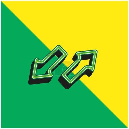 Pfeile in entgegengesetzte Richtungen Grünes und gelbes modernes 3D-Vektorsymbol-Logo