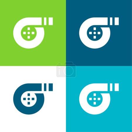 Illustration pour Filtre à air Ensemble d'icônes minimal plat quatre couleurs - image libre de droit