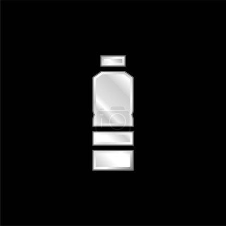 Illustration pour Bouteille argent plaqué icône métallique - image libre de droit