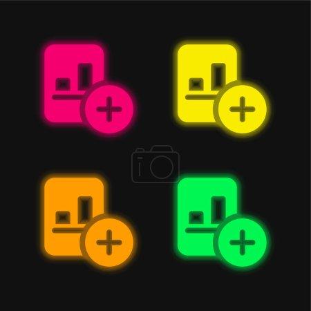 Photo pour Ajouter une icône vectorielle néon éclatante de quatre couleurs - image libre de droit