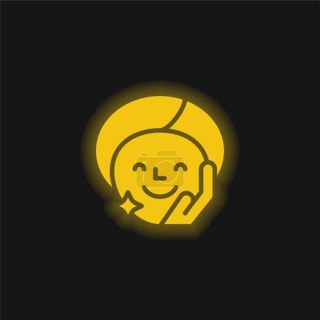 Illustration pour Traitement de beauté jaune brillant icône néon - image libre de droit