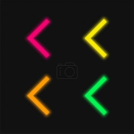 Backward Arrow four color glowing neon vector icon