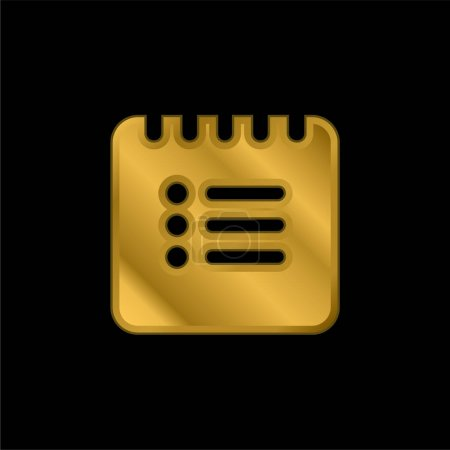 Black List Square Interface Symbol gold plated metalic icon or logo vector