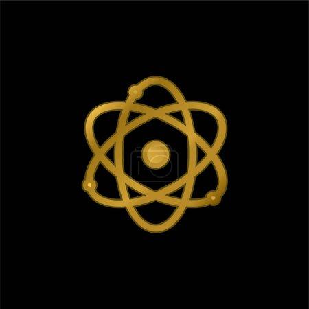 Illustration pour Symbole Atom Science icône métallique plaqué or ou vecteur de logo - image libre de droit