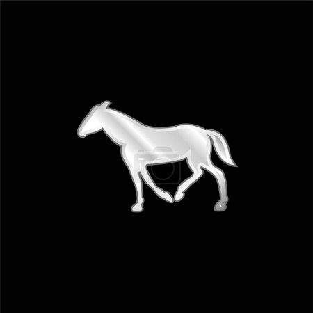 Black Walking Horse With Tail Down silver plated metallic icon