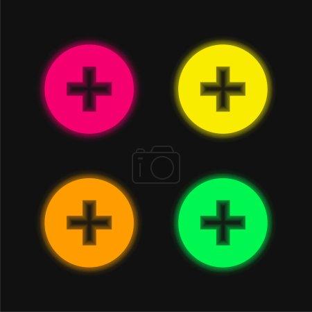 Illustration pour Ajouter Bouton quatre couleurs brillant icône vectorielle néon - image libre de droit