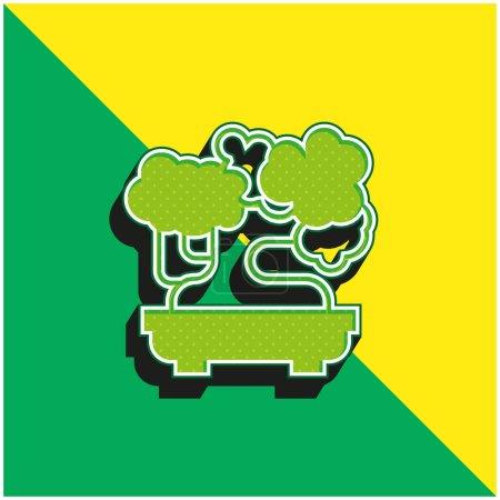Illustration pour Bonsai Logo vectoriel 3d moderne vert et jaune - image libre de droit