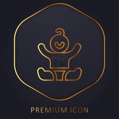 Photo pour Bébé ligne d'or logo premium ou icône - image libre de droit
