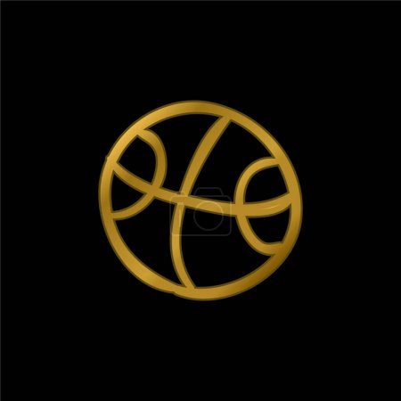 Ball Hand Drawn Outlined Toy gold plated metalic icon or logo vector