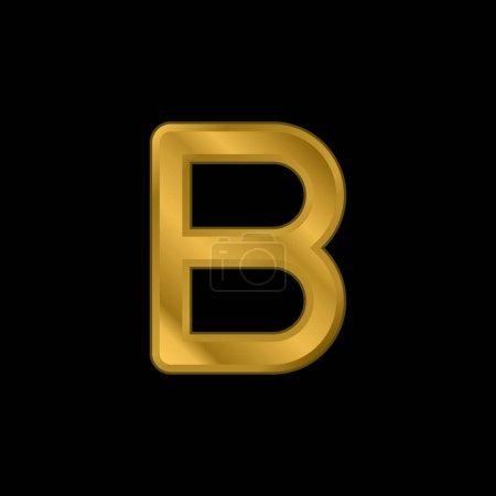 Beta chapado en oro icono metálico o logo vector