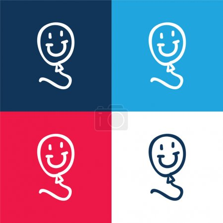 Balloon Smiling Toy blue and red four color minimal icon set
