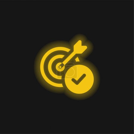 Illustration for Aim yellow glowing neon icon - Royalty Free Image