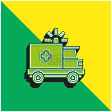 Photo pour Ambulance Logo vectoriel 3D moderne vert et jaune - image libre de droit