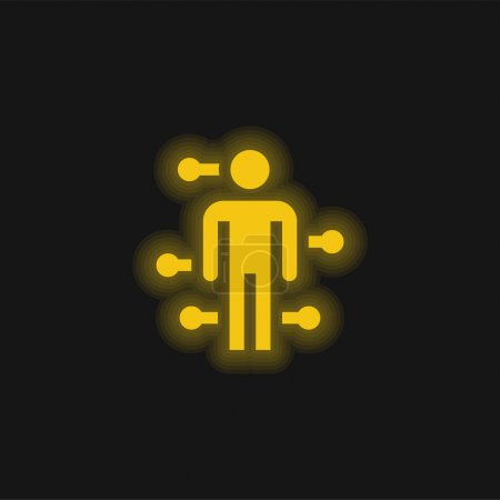 Acupuncture yellow glowing neon icon