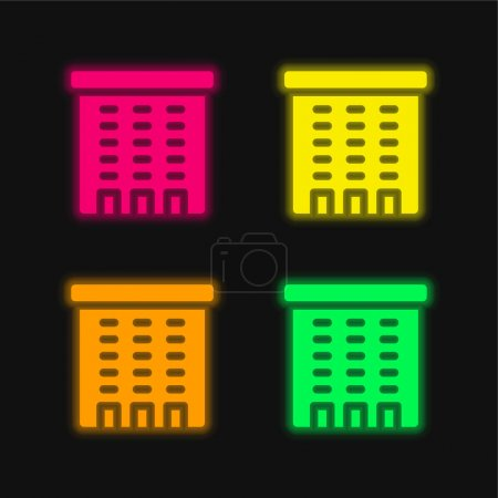 Illustration for Apartment four color glowing neon vector icon - Royalty Free Image