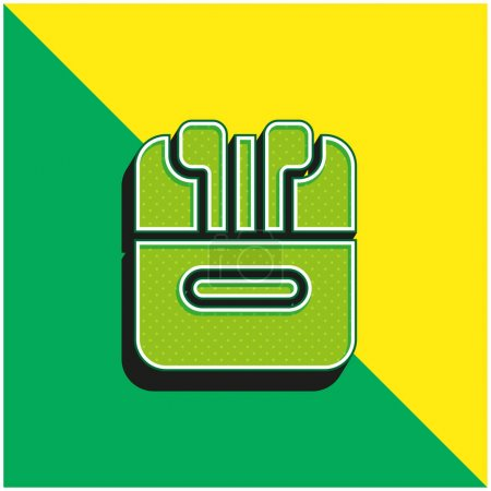 Illustration pour Airpods Vert et jaune icône vectorielle 3d moderne logo - image libre de droit
