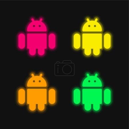 Illustration pour Icône vectorielle néon lumineux Android quatre couleurs - image libre de droit