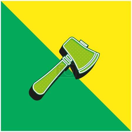 Photo pour Hache Logo moderne vectoriel 3D vert et jaune - image libre de droit