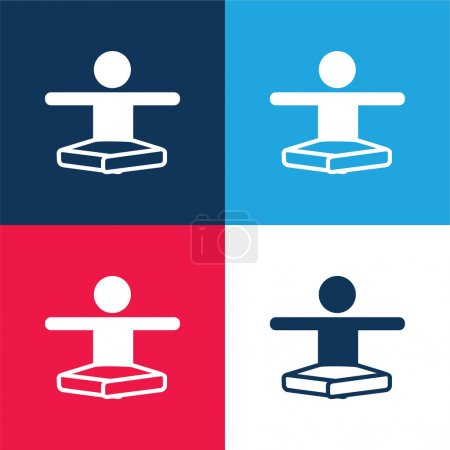 Boy In Lotus Position Stretching Arms blue and red four color minimal icon set