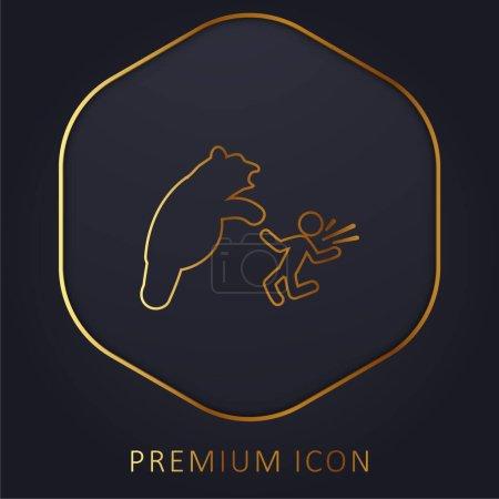 Illustration pour Ours Attaque ligne d'or logo premium ou icône - image libre de droit