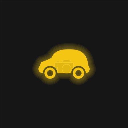 Illustration pour Voiture noire jaune brillant icône néon - image libre de droit
