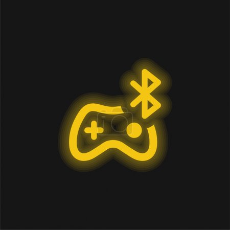 Bluetooth yellow glowing neon icon