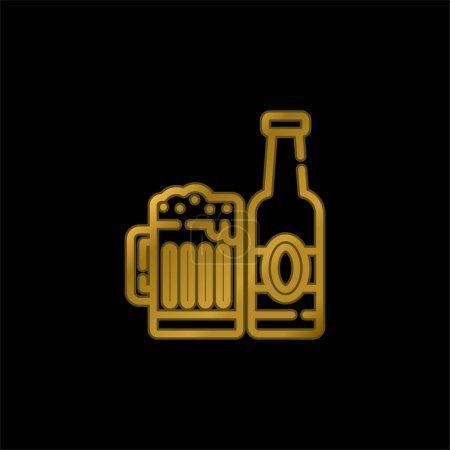 Photo pour Bière plaqué or icône métallique ou logo vecteur - image libre de droit