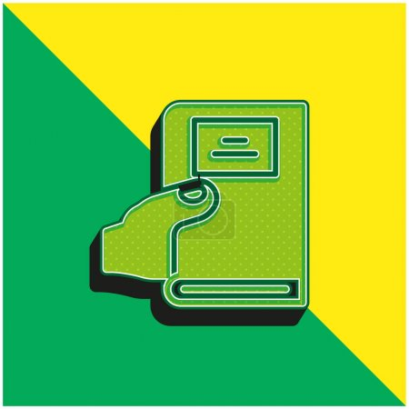 Illustration for Book Green and yellow modern 3d vector icon logo - Royalty Free Image