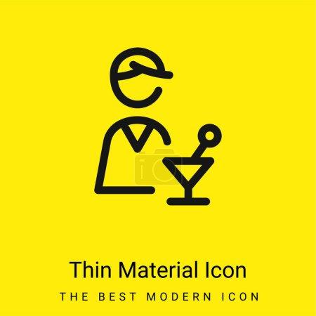 Illustration pour Barman minimale icône matériau jaune vif - image libre de droit
