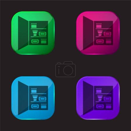 Illustration pour Armoire de salle de bain avec des objets de soins personnels icône de bouton en verre de quatre couleurs - image libre de droit